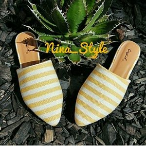 Shoes - SALE NEW Pinstripe Knit Mules